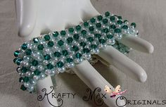 Green and White Beadwoven Bracelet - Creations Color Challenge A Krafty ...