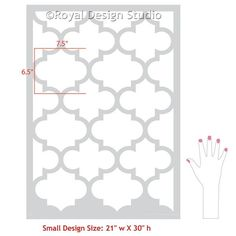 Paint an accent wall in your living room or bedroom with exotic trellis wall stencils that mimic designer wallpaper - perfect for boho glam or modern decor.