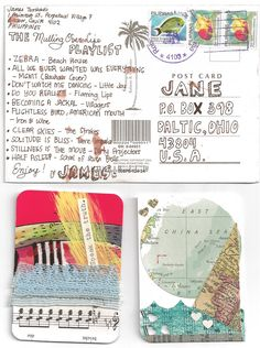 ✉ Postcard and ATCs from Jane Boston. ✉ Snail mail art at its best. http://www.pinterest.com/inkeltje/snail-mail/