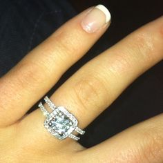 Engagement ring!! Wedding band slides in between the 2 outside bands