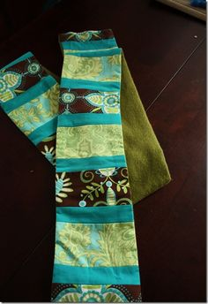 patchwork fleeced lined scarf