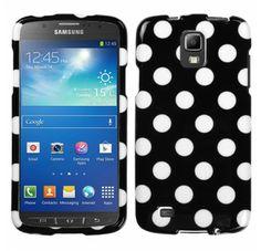 SAMSUNG i537 (Galaxy S4 Active) White Polka Dots Black Phone Protector Cover
