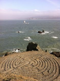 Maze at Fort Miley, CA. Mist, sound of foghorns, swirling water, calming maze of found beach objects (Leslie Williamson 'pic of the day', July 21, 2011)