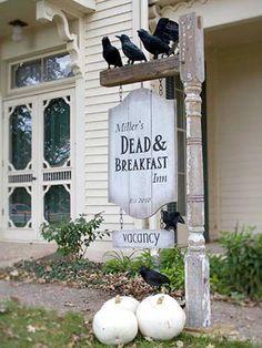 dead and breakfast inn sign for halloween, diy halloween yard decoration ideas Halloween Prop, Casa Halloween, Halloween Door Decorations, Holidays Halloween, Halloween Crafts, Outdoor Decorations, Haunted Halloween, Vintage Halloween, Happy Halloween