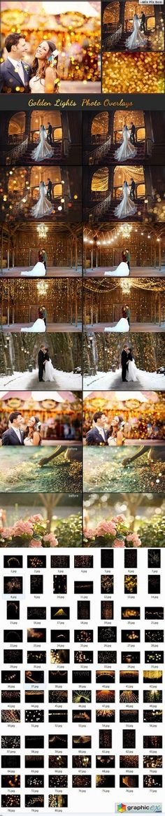80 Golden lights Photo Overlays