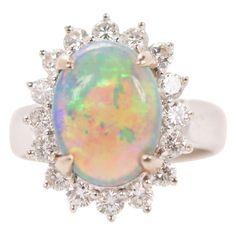 Art Nouveau Cluster Flower Ring Stunning 18K White Gold Ornate Flower Design Natural Opal /& Diamond Ring Customizable