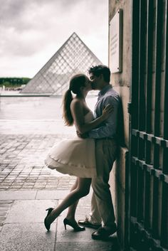 """Kisses are the messengers of love and tenderness."" Ingrid Bergman This picture was taken by Paris engagement photographer Fran Boloni"