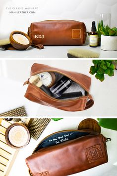 75a1b9932ffda4 Handmade full grain leather wash bags with waterproof lining from MAHI  Leather. Personalise your dopp
