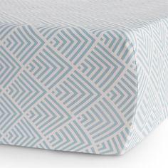 Oilo Studio Jersey Crib Sheet Kai in Aqua