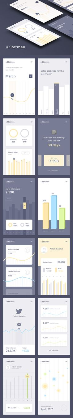 Statmen Statistic iOS UI Kit — download free ui kits by PixelBuddha