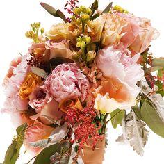 Kimberly Sevilla for Rose Red & Lavender  roses, safari roses, senecio cineraria, peonies, astilbe, lisianthus, and seeded eucalyptus, $225.