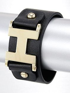 Black and Gold Band Style Designer Look Materials Leatherette Length 8.5 Inch Width 1.25 Inch Fashion Band Bracelet. Unknown http://www.amazon.com/dp/B00L1OG3EQ/ref=cm_sw_r_pi_dp_WxMLvb08ZJSVK