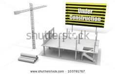 stock photo : Construction concept image with a crane and building under construction