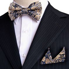 Cheap mens bow tie, Buy Quality bow tie directly from China wholesale tie Suppliers: Paisley Floral Navy Blue Yellow Khaki Tuxedo Pre-tied Mens Bow Tie Pocket Square Silk Set Adjustable Wholesale Party Blue Yellow, Navy Blue, Smoking, Paisley, Tie And Pocket Square, Tuxedo, Bows, Silk, Floral