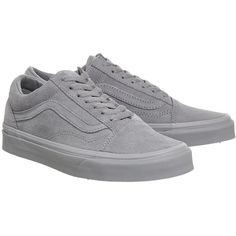 Vans supplied by Office Vans Old Skool Trainers ($86) ❤ liked on Polyvore featuring shoes, sneakers, grey, lace up shoes, vans shoes, vans sneakers, grey sneakers and laced sneakers