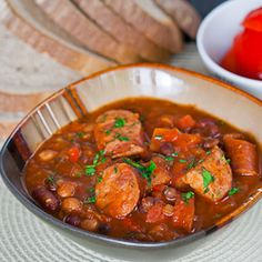 Jo Cooks — Beans and Sausage (Fasole cu Carnati) Sausage Stew, Beans And Sausage, Pork N Beans, Sausage Casserole, Spicy Sausage, Bean Casserole, Chicken Sausage, Red Beans, Crispy Chicken