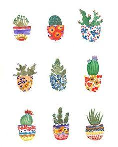 Cactus Pots Midwest Desert Plants print by SarahJeanDuggan Cactus Planta, Cactus Y Suculentas, Cactus Pot, Cacti, Buy Cactus, Guache, Desert Plants, Painting Inspiration, Watercolor Paintings