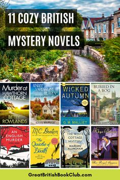 11 Cozy British Mystery Novels - From Agatha Raisin (MC Beaton) to Rhys Bowen and Margery Allingham. Cosy mystery novels to keep you busy in bad weather. I Love Books, Good Books, Books To Read, My Books, Mystery Genre, Mystery Novels, British Mystery Series, Cozy Mysteries, Greatest Mysteries
