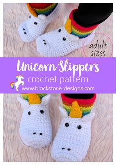 Unicorn Slippers Adult Sizes crochet pattern from Blackstone Designs  #crochet #crochetpattern #unicorn #slippers #crochetslippers #crochetunicorn