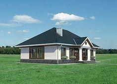 Elewacja lewa projektu Aleksandria - murowana - ceramika Compact House, Small House Plans, Home Fashion, Gazebo, Porch, Shed, Villa, Outdoor Structures, Cabin