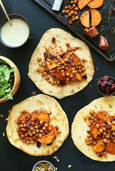 AMAZING 30-minute FALL BOUNTY THANKSGIVING Wraps! Roasted Sweet Potatoes & Chickpeas with cranberries, thyme and…