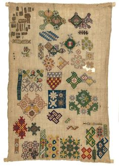 Fitzwilliam Museum - century spot sampler stitched possibly by a young Mary Chichester. (Some of the motifs near the bottom look almost like brick stitch patterns. Embroidery Sampler, Vintage Embroidery, Hand Embroidery, Medieval Embroidery, Textiles, Teheran, Art Textile, Cross Stitch Samplers, Museum Collection