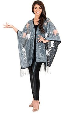 "KOH KOH Women's Poncho Kimono Batwing Printed Cover-Up Top Blouse - XX-Large - Black. Please select your size based on the bust/chest measurements provided below. Bust/Chest: (XS) 30-32 inches(S) 32.5-35 inches (M) 35.5-37.5 inches (L) 38-40 inches (XL) 40.5-43 inches (2X) 43.5-47 inches (3X) 48-51.5 inches (4X) 52-55.5 inches. Total length is approximately 36""/ 91 cm. Hand wash or dry clean. This item comes with FREE SHIPPING worldwide."