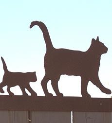 Cat Family Metal Sculpture Fence Topper
