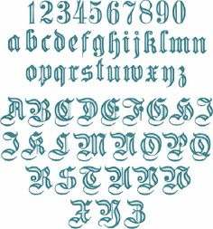 Gothique #1 Alphabet 26 majuscules, les 10 chiffres et les 26 lettres de broderie Machine minuscules pour 4 « x 4 » hoop F2127