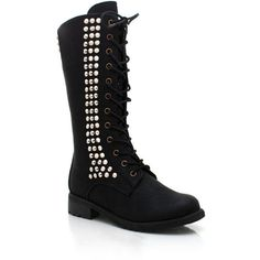 spiked mid-rise combat boots ($36) ❤ liked on Polyvore