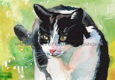 Tuxedo Cat Black and White Digital Art Print of Watercolor