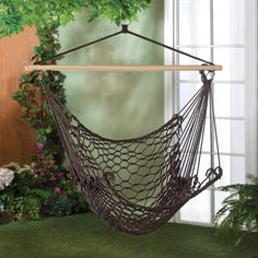 Black Espresso Chair Hammock Cotton Swing Hanging Outdoor Deluxe Patio Rope Yard #HomeLocomotion