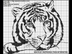 Free Cross Stitch Pattern - Monochrome tiger