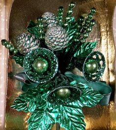 Vtg Christmas Corsage w Box Mercury Glass Pinecones