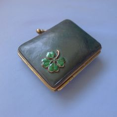 Gorgeous Little Leather Purse With Enamel Clover / Coin Money Antique
