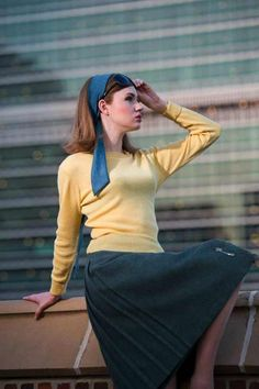 British Vogue 1962 - Grey Scarf, Yellow Sweater & Grey Wool Skirt - Photographer David Bailey