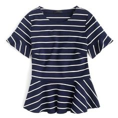 Women's J.crew Stripe Structured Flounce Top ($60) ❤ liked on Polyvore featuring tops, ruffle top, flutter-sleeve top, blue peplum top, peplum top and frill top