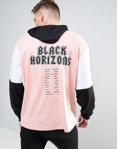 7f081f885009 ASOS Oversized Long Sleeve T-Shirt with Hood And Black Horizons Back Print  Asos