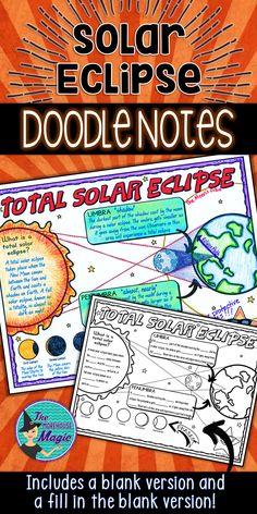 Total Solar Eclipse Doodle Notes - Doodle Notes will aid in student concept retention, focus, creativity, and engagement. Students will use this graphic organizer to identify, define, and illustrate what happens during a total solar eclipse including the phases and the terms umbra and penumbra. Students will gain experience in synthesizing information and creating their own tangible connections in their notes.