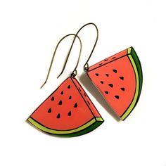 Watermelon Earrings Summer Gift Fruit jewelry Food by XenaStyle