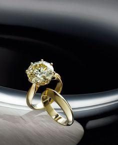 18k yellow gold diamond ring, & 18k yellow gold wedding band