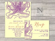 Octopus Wedding Invitations  Unique Offbeat Sea Life by nellybean, $3.75