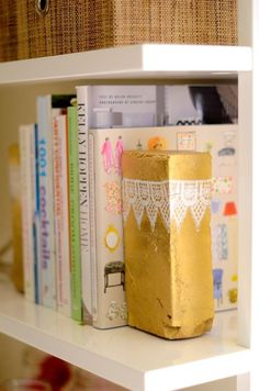 DIY Metallic Brick Bookends