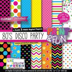Fondos Papel Digital 80's Fiesta DJ Rock Discoteca Rosa Amarillo Negro clip art para imprimibles invitaciones cajas etiquetas