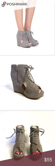 db9cc017896 Jeffrey Campbell Perforated Wedge Peep Toe Bootie Anthropologie Jeffrey  Campbell Perforated Hidden Wedge Gray Suede Peep Toe Ankle Boot Bootie -  Size 7 Fits ...
