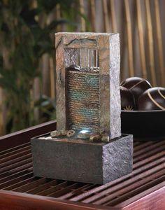 Tabletop Water Fountain, Diy Fountain, Indoor Water Fountains, Fountain Design, Waterfall Fountain, Indoor Fountain, Modern Fountain, Concrete Fountains, Mini Waterfall