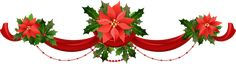 Transparent Christmas Garland with Poinsettias PNG Clipart