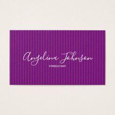 Consultant Fashion Designer Purple Stripes Artist Business Card - makeup artist gifts style stylish unique custom stylist