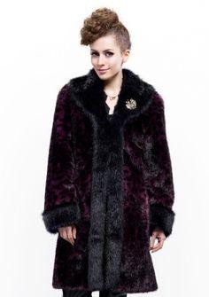 Deneuve Fashion/black and wine red mink faux fur leopard grain with faux beaver fur collar /long coat