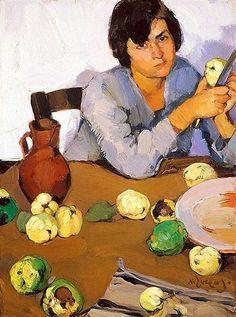 """Peeling Quinces"" by Greek artist, Nikolaos Lytras Greek Paintings, Social Art, Painter Artist, Greek Art, Conceptual Art, Heart Art, Love Art, Female Art, Art History"